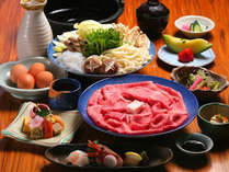兵庫県産但馬牛をお楽しみください。写真はすき焼き会席(イメージ)。しゃぶしゃぶもお選びいただけます。