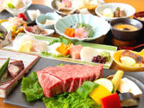 神戸牛プレミアム会席(イメージ)。地元兵庫県産A5ランク神戸牛フィレステーキを含む会席料理です。