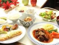 お肉中心のお料理を中心とした季節に合わせたお夕食をご賞味いただけます。