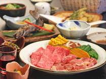 ◆夕食◆豊後牛&地鶏の炭火焼き会席(例)