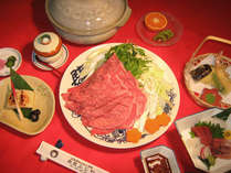 黒毛和牛を特性ポン酢と胡麻だれでお召し上がり下さい。