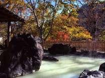 【松川温泉】峡雲荘の露天風呂。ホテルよりお車で約20分