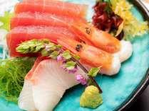 沼津港からの地の魚を中心としたお造り夕食(一例)