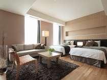 <アークリッシュフロア・2ベッド・デラックス>約45平米。お部屋からの景色もお楽しみ下さい。