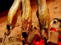 【夕食一例】囲炉裏で風味豊かに。岩魚塩焼き。