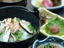 「蟹雑炊」人気の朝食!!蟹の足身入り。あつあつで召し上がれ☆