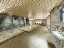大浴場完成予想図 2021年8月 大浴場&湯上がり処リニューアル!温度別浴槽や仕切り付き洗い場を完備♪