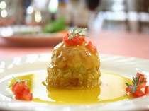 舌ひらめとホタテ白身魚のムース詰めサフランソース