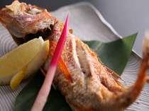 ノドグロ塩焼の例。脂ののったノドグロはお箸で押すだけで旨みがにじみ出る!4月1日~11月5日に登場