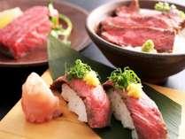 【但馬牛とろろ丼】【但馬牛ステーキ】【但馬牛にぎり】から予約時にお一人2品お選びください