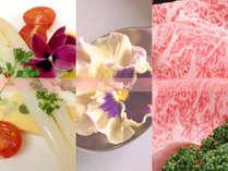 華やかな彩り「花ごはん&信州牛」を堪能