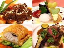 夕食はシェフ自慢の料理で舌鼓♪(冬季はお鍋・和洋折衷のセミコースの場合がございます)