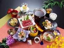 「ふくしま煌牛のすき焼き」が付いたご夕食コース(一例)