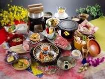 「福島牛の焼きしゃぶしゃぶ」が付いた彩響の膳(ご夕食の一例)