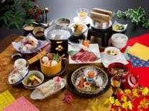 「ふくしま煌牛のしゃぶしゃぶ」が付いた輝楽の膳(ご夕食の一例)