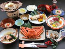 【お夕食の一例】佐渡産の旬の魚介や有機野菜を食材に合った調理法で提供いたします。(化学調味料不使用)
