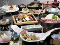 <松阪牛会席一例>季節により器や調理法が異なる場合がございます。