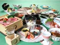 「朴葉焼き」&「日本酒蒸篭蒸し」&「山女魚塩焼き」の会席料理