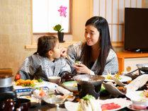 お子様連れに嬉しい♪夕食部屋食。ママも安心、安全、気兼ねなし★ゆっくりお過ごし下さい