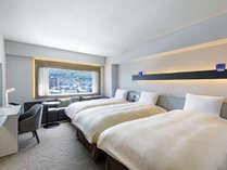 【客室】デラックスツイン/30平米/こちらのお部屋タイプは全室函館山側を向いております。(3名様)