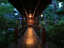 渡り廊下からは、常に自然豊かな庭を眺めることができます