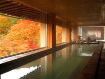 【秋】大浴場から眺めるパノラマの紅葉は圧巻!