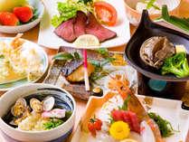 【三河御膳(料理一例)】ご当地ガマゴオリうどんや海の恵みをふんだんにお食事をお楽しみください。