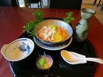 【夏季夕食例(豚冷しゃぶ・素麺)】