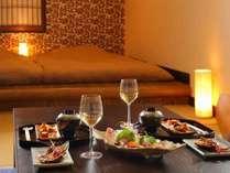 一番人気のお部屋食プランではプライベート空間で話も弾みます。