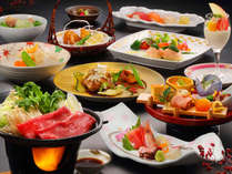 すき焼き・ビーフシチューなどボリューム満点の料理11品を堪能する「万福会席」イメージ(2017)