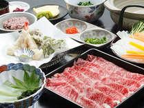*お夕食一例(上州牛のしゃぶしゃぶ)/群馬が誇るブランド牛をたっぷりご賞味下さい。