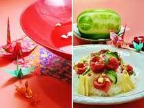 大杯と祝寿司・・・様々な記念日には当館料理長が記念日を華やかに彩る祝寿司を♪♪