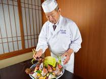 *【勲章料理人 太田忠道】鉄人大田忠道の宿だからこそできる活きづく「客前料理」