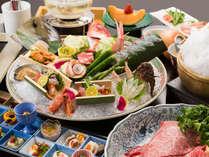 *【お夕食一例】名物雲海鍋を始め、大皿で盛り付けたお造り、有馬十二坊など基本のコースです。