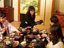 ★朝夕食完全個室・夕食風景・家族・グループでも安心