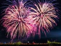 広大な県営筑後広域公園で開催される花火大会。
