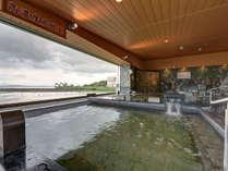 *【あがりゃんせ・大浴場】高濃度炭酸泉の美肌の湯♪解放感あふれる広い露天風呂です!