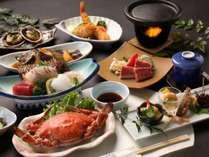 知多牛陶板焼きが楽しめるお料理一例。宿泊コースには活造りをお付けしています。