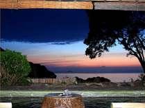 露天風呂[影向の湯]夕日の風景