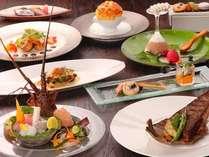 【夕食】Japanese French Cuisine(一例)。駿河湾の海の幸はじめ伊豆旬食材満載、シェフのこだわり料理
