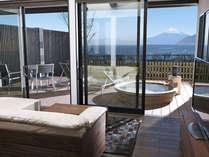 富士山と駿河湾を望む専用テラス&露天風呂付客室130平米の一例です