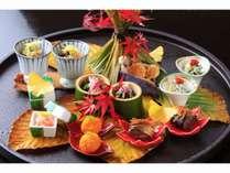 焼舞茸ぽんず卸し 芹白和え いか紅葉和え 卵黄味噌漬柚子見立て