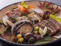 旬と地食材「鮑・のど黒・和牛・松茸・塩宝楽焼」をどうぞ