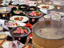 「男鹿名物石焼料理」&「秋田錦牛ステーキ」付和食膳(2人前イメージ)デラックスなプランです。