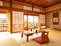 開放感のある和室例。街並みや川を望むお部屋も有り