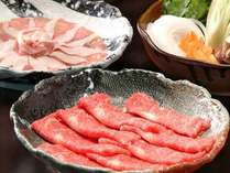 鹿児島黒牛のきめ細やかな肉質と鹿児島黒豚のとろけるようなの食感と甘味をしゃぶしゃぶで。※画像一例