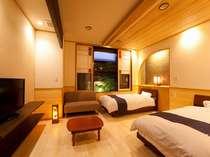 バリアフリー対応☆温泉ユニットバス付きツインベッドルーム(1階)