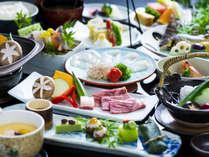 【お部屋食】琴菊コース一例 豊後牛の陶板焼と関もの・かぼす鮃など大分の味覚が詰まった特選会席