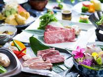 【お部屋食】豊後牛会席一例 大分ブランドの豊後牛を陶板焼きとしゃぶしゃぶで