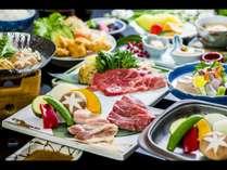 【お部屋食】豊後牛を陶板焼きとしゃぶしゃぶでご堪能いただける人気の会席料理(豊後牛会席 一例)